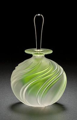 Handmade lime green glass perfume bottle