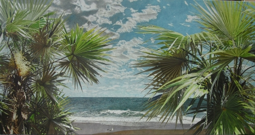 Oil painting of silver thatch palms by the beach