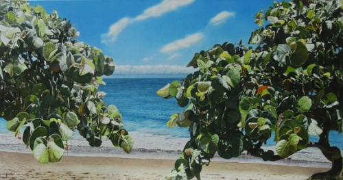 Oil painting of seagrass by the ocean