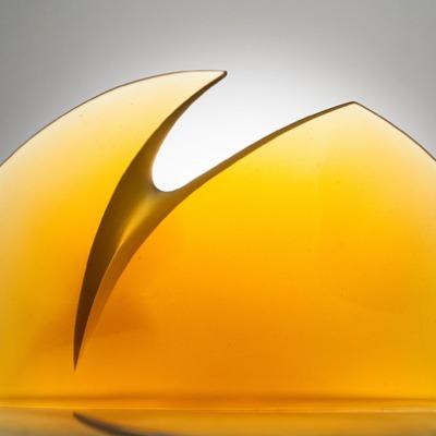 Yellow cast glass art by Latchezar Boyadjiev