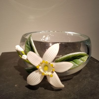 Blown glass bowl with hot-sculpted flower