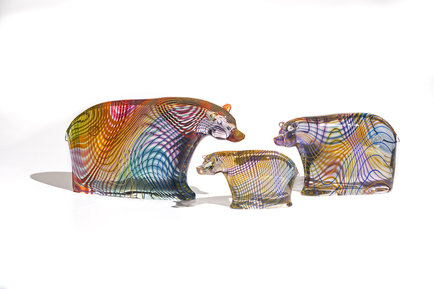 Sculpted glass bears by Dan Friday