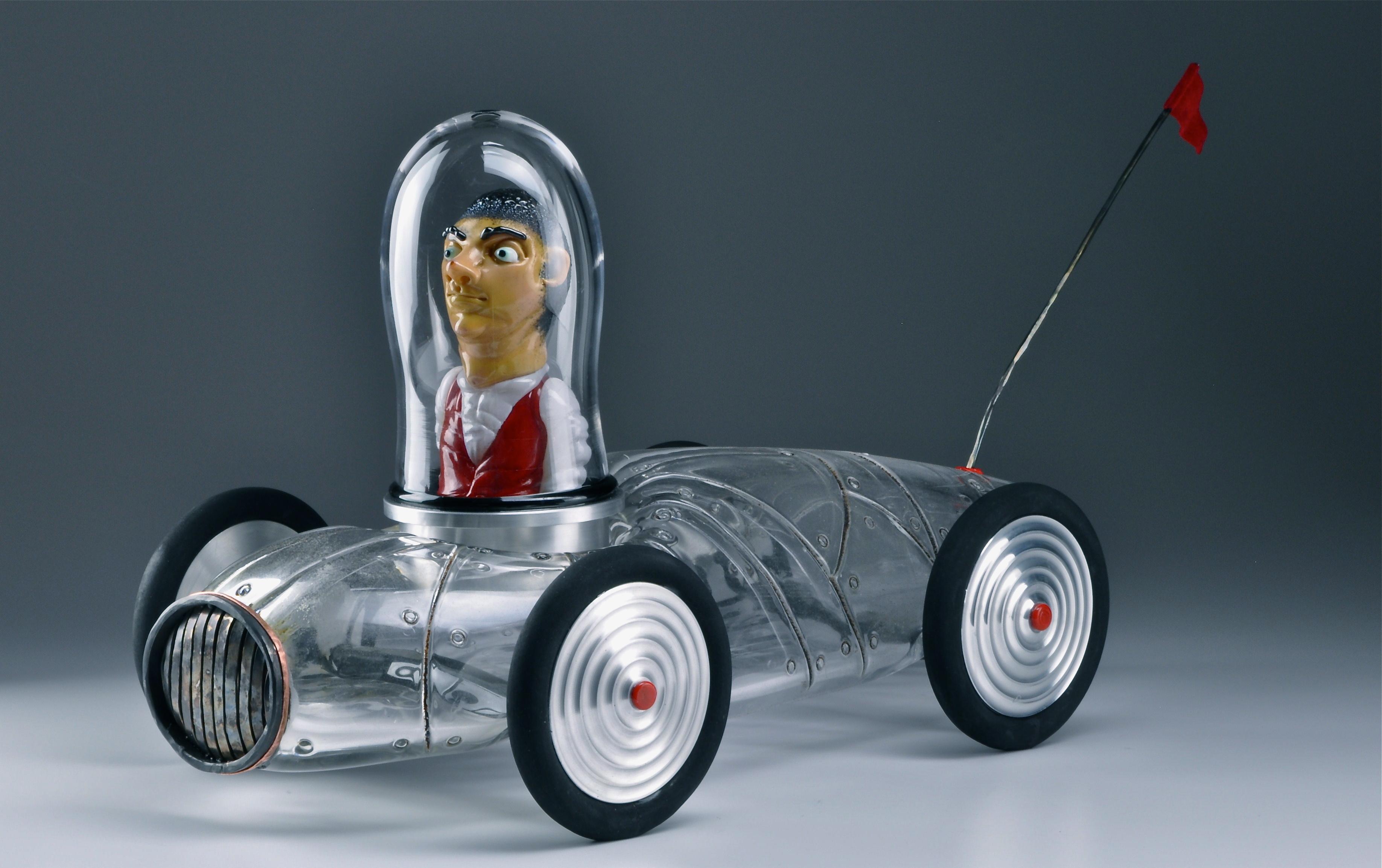 Glass race car sculpture
