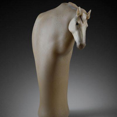 Hot-sculpted glass horse sculpture by Ross Richmond