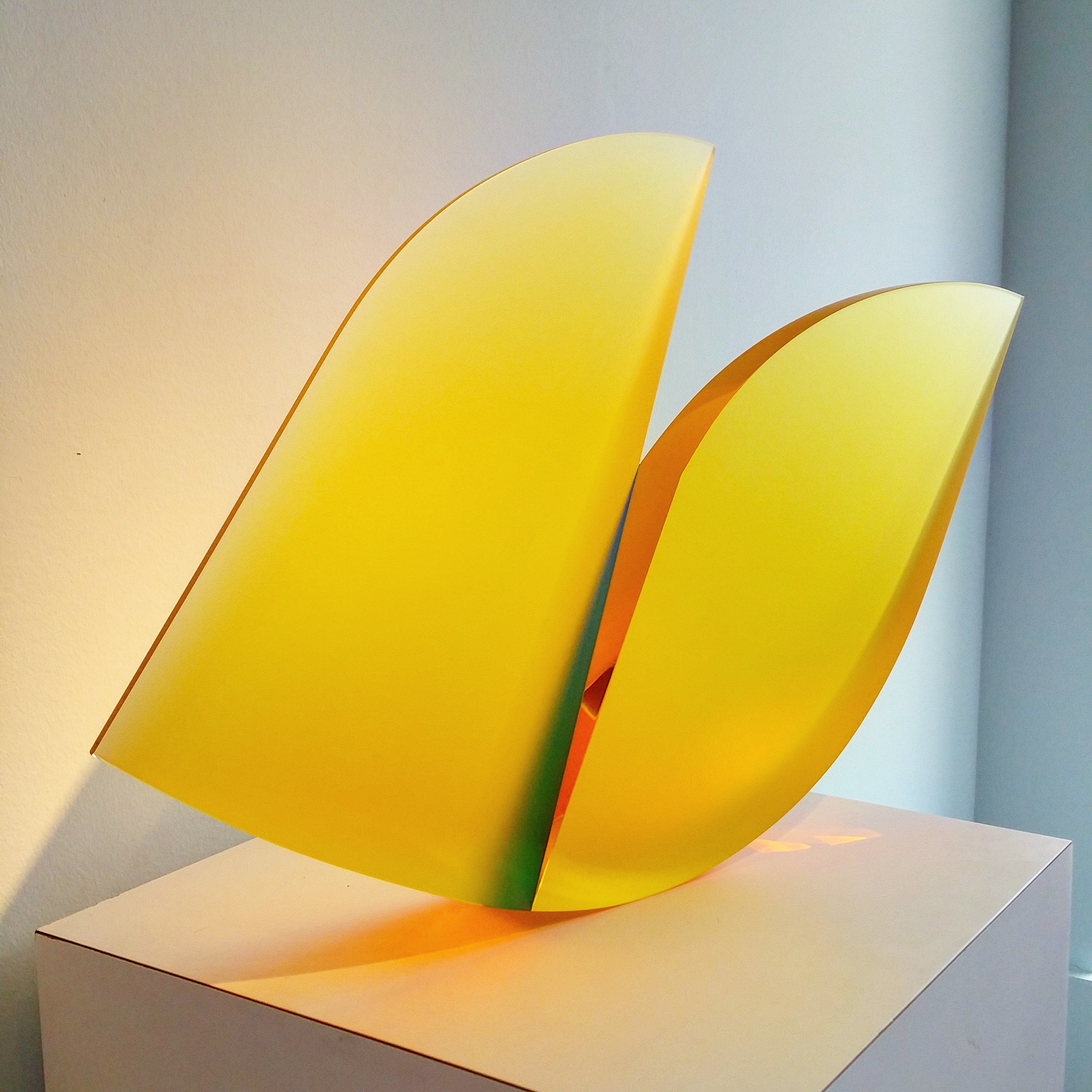 Yellow laminated glass sculpture by Martin Rosol