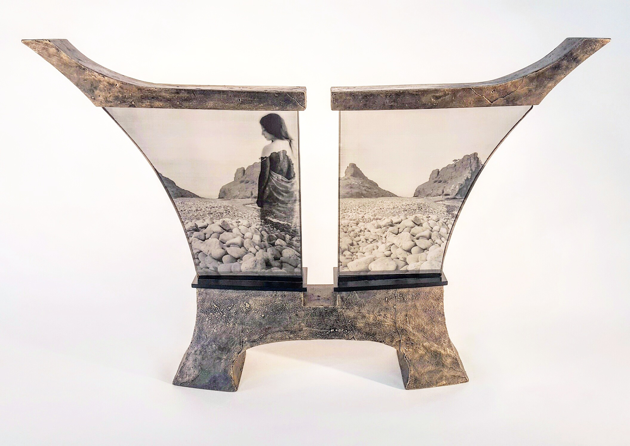 Glass sculpture with figurative image by Mary Van Cline