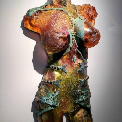 Figurative wall hanging sculpture by Hilal Hibri
