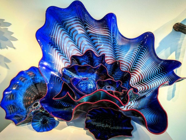 Blue blown glass sculpture by Dale Chihuly