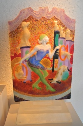 Colorful cast glass figurative sculpture by Wendy Saxon Brown