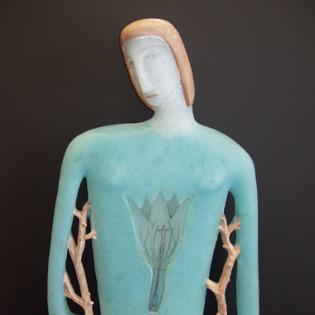 Cast glass figurative sculpture by artist Robin Grebe