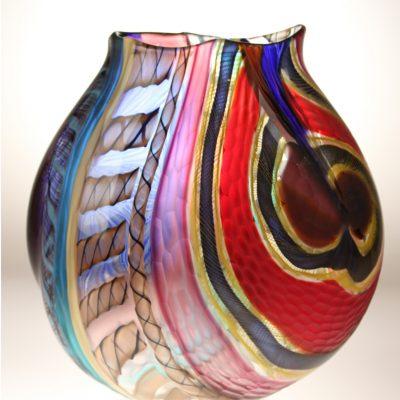 Colorful Italian blown glass vessel by Luca Vidal