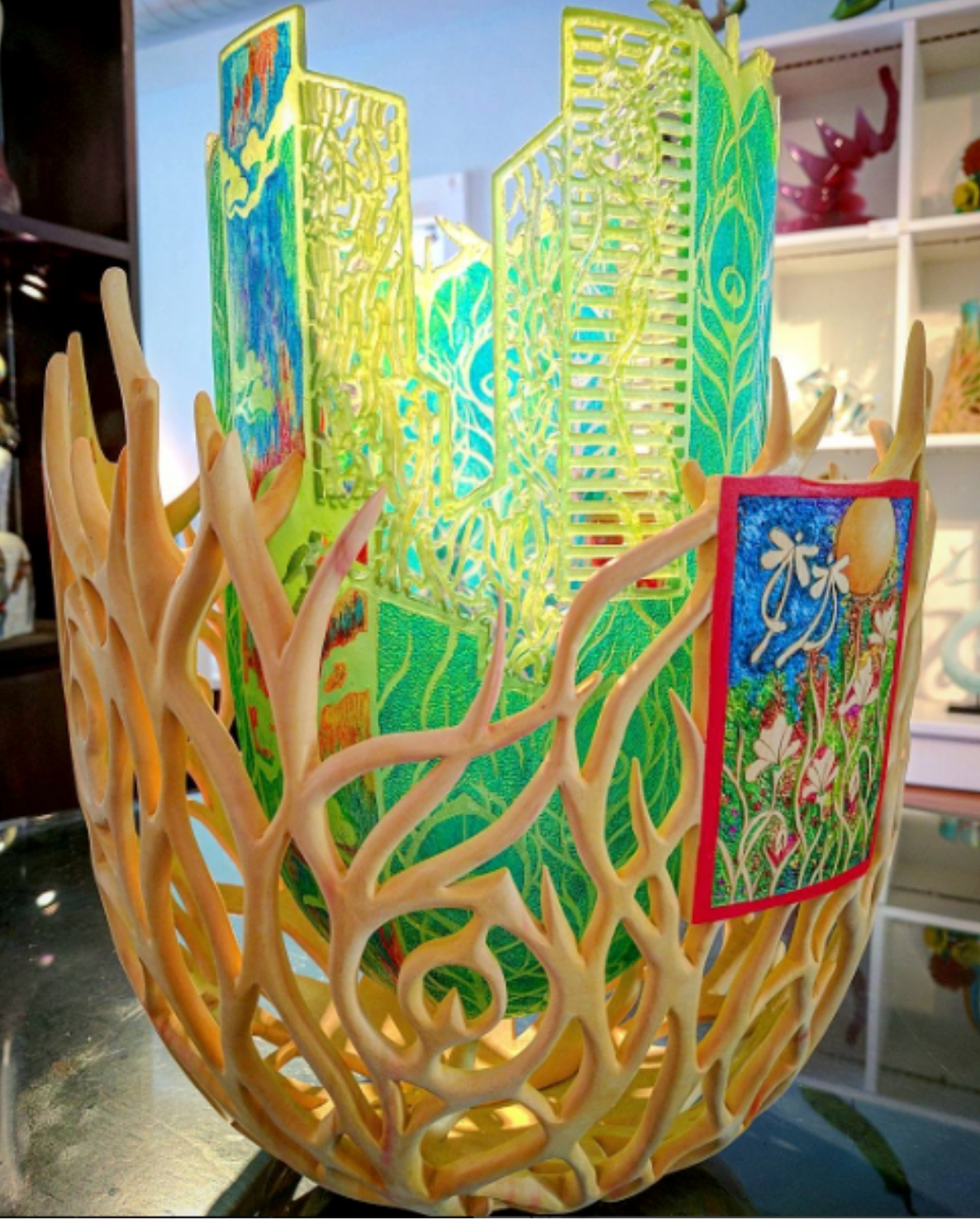 Wood and cast glass sculpture with painted detail by Binh Pho