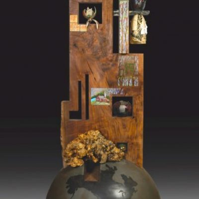 Wood with glass sculpture with painted detail by Binh Pho