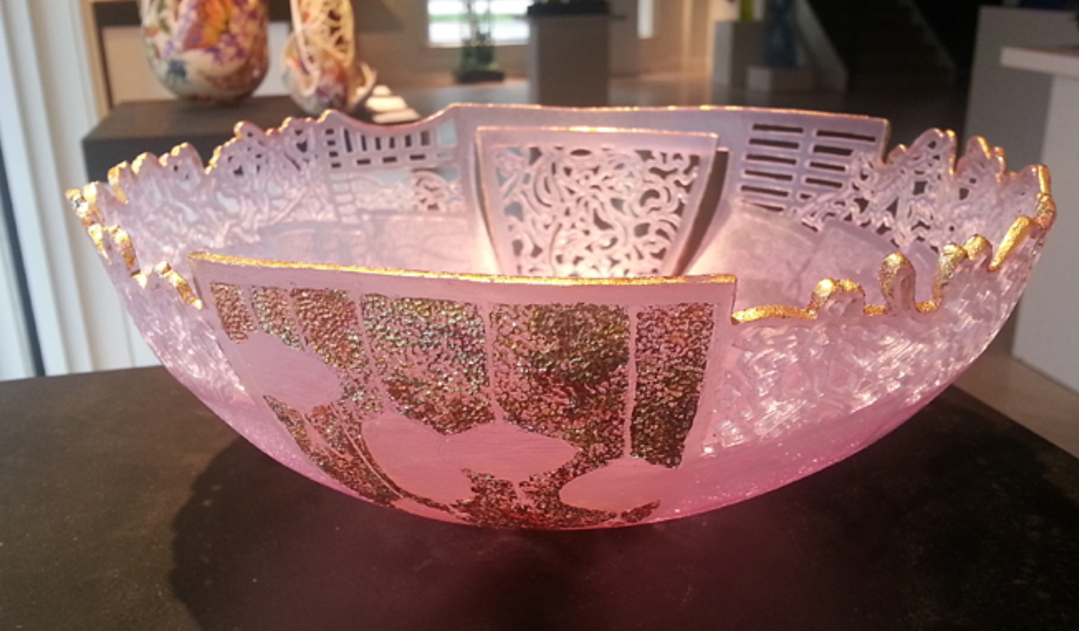 Pink cast glass sculpture with painted detail by Binh Pho