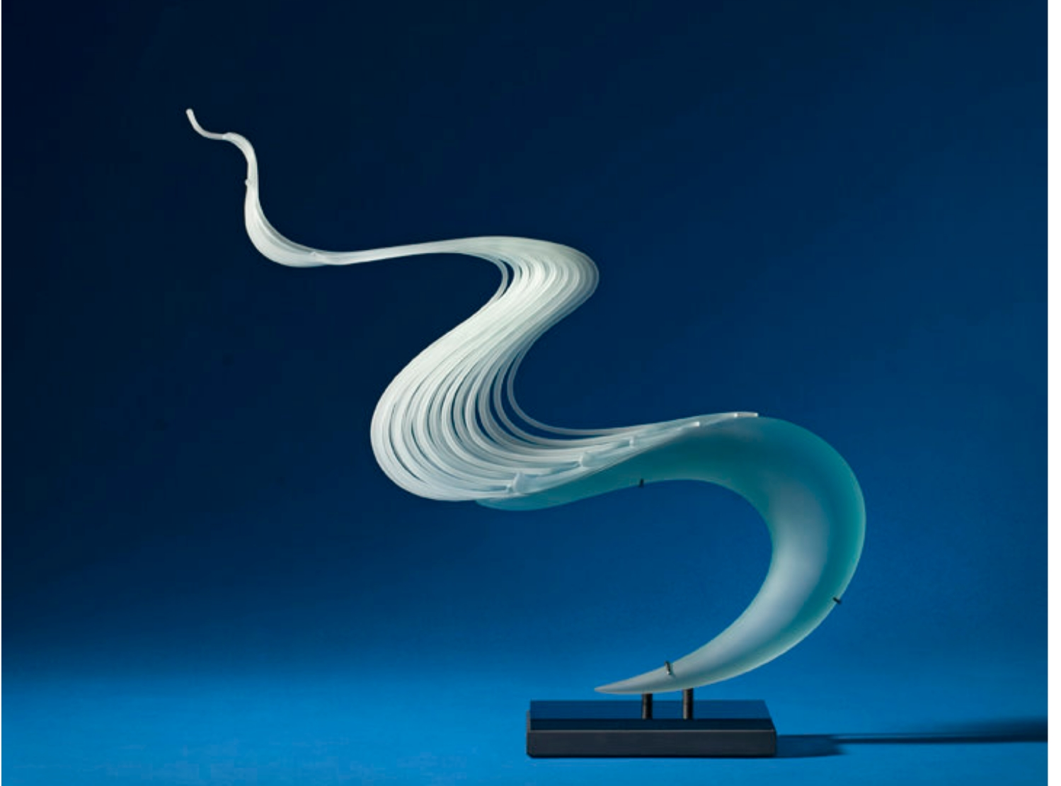 Carved and laminated plate glass sculpture by William LeQuier