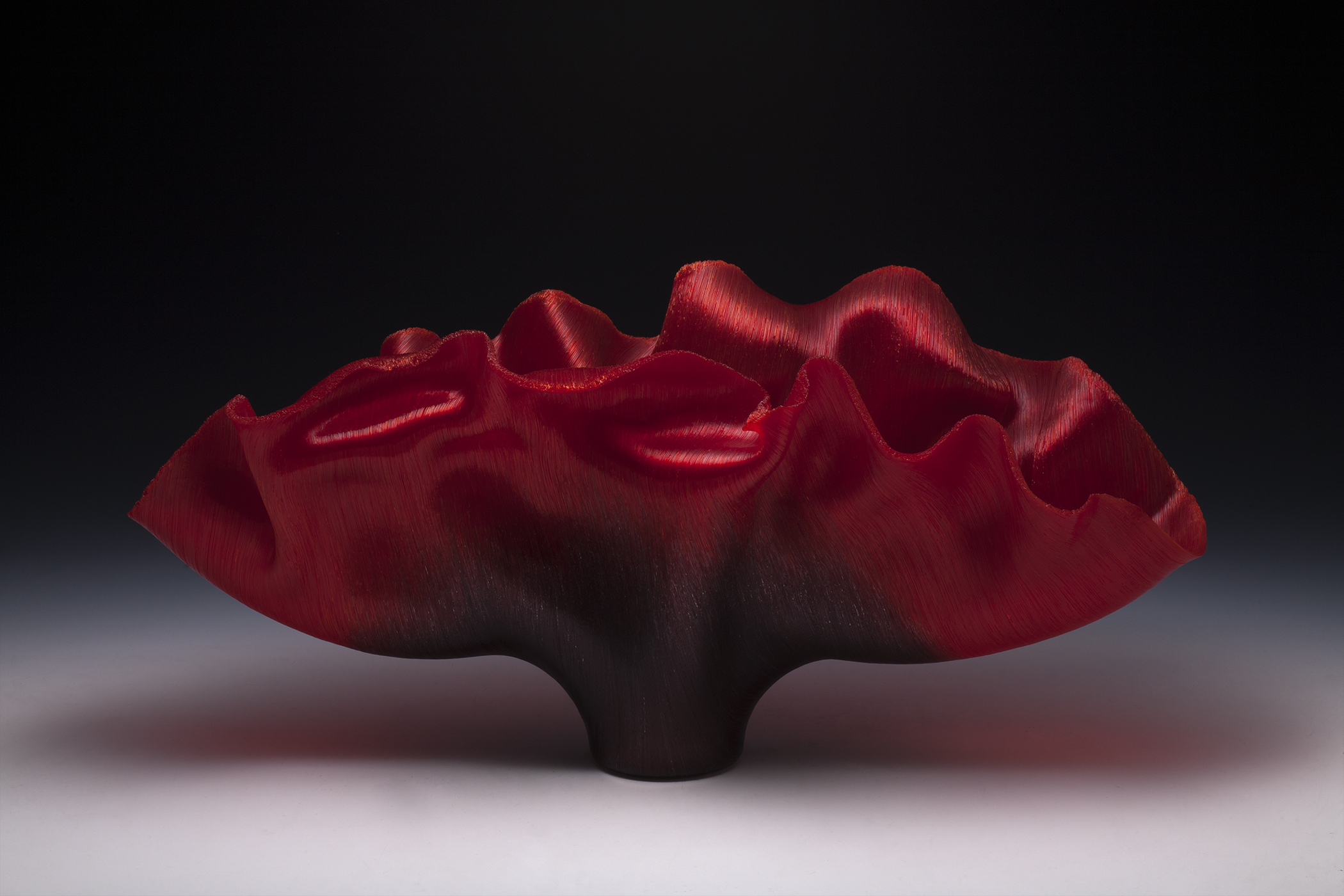 Red Glass Fused and Slumped Vessel by Toots Zynsky