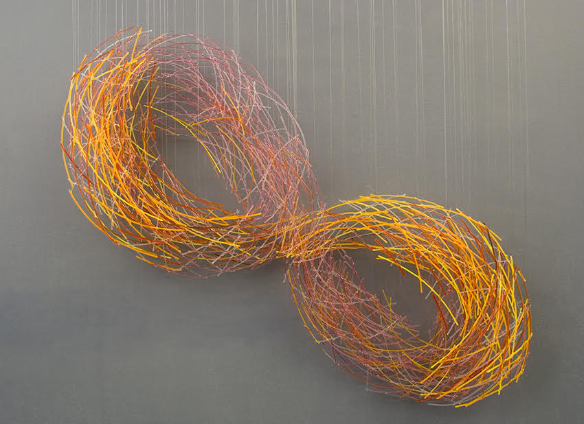 Fused glass wall sculpture by Harue Shimomoto