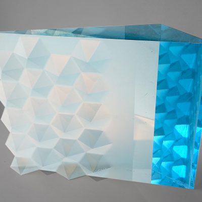 Light blue abstract cast artwork by Vladimira Klumpar