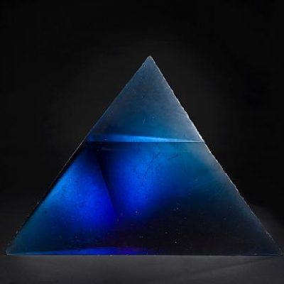 Blue cast glass pyramid sculpture by Stanislav Libensky and Jaroslava Brychtova