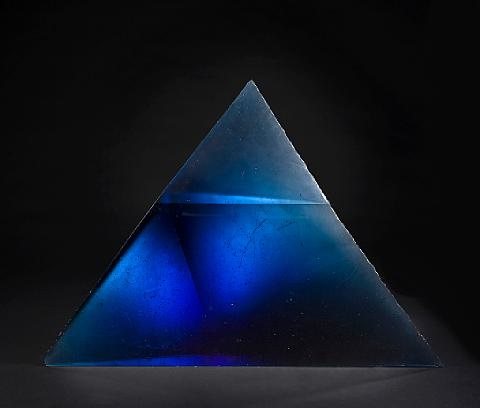 Blue cast glass pyramid sculpture by Stanislav Libensky and Jaroslava Brychtova