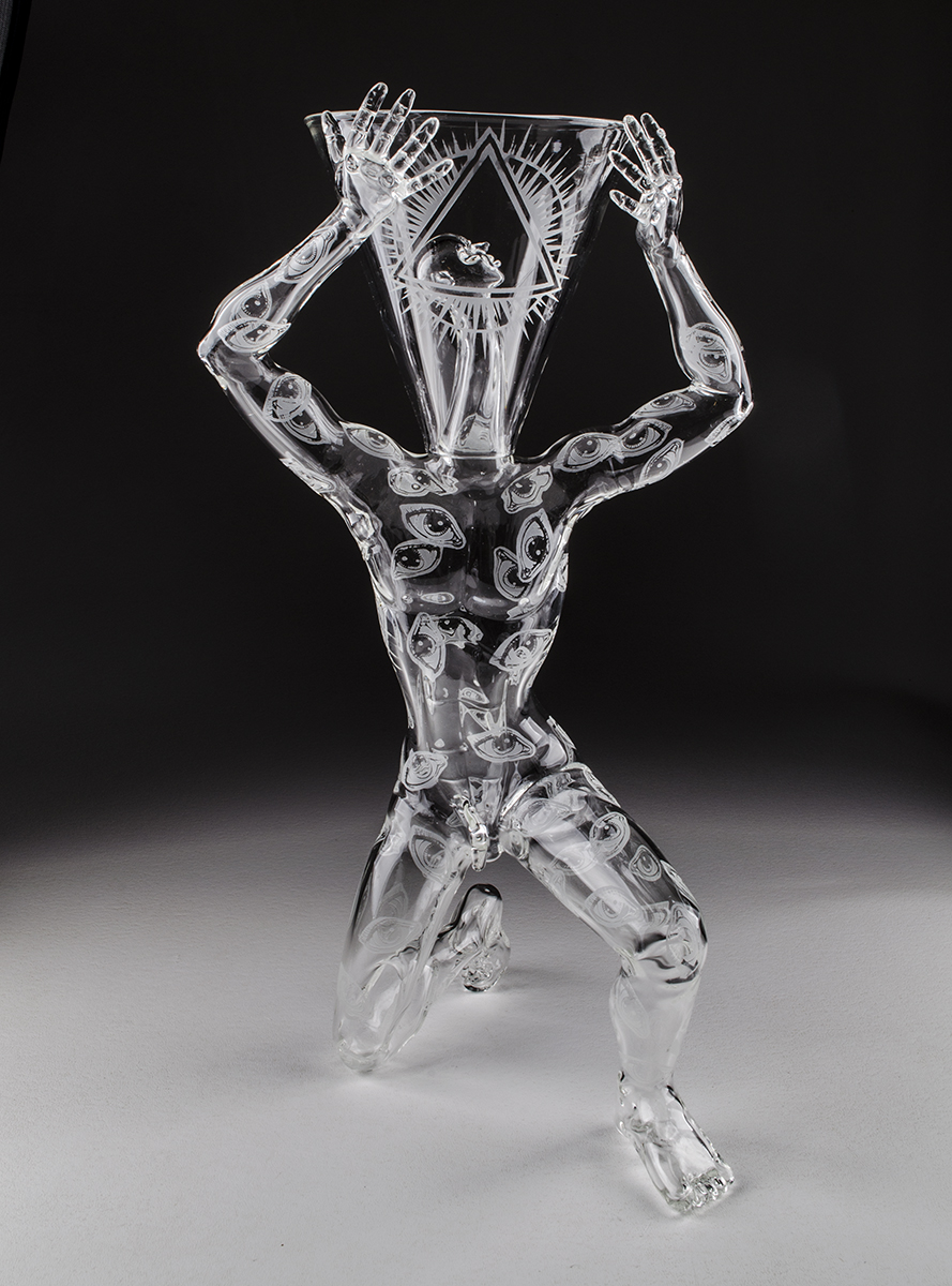 Flameworked clear glass figurative sculpture by Robert Mickelsen