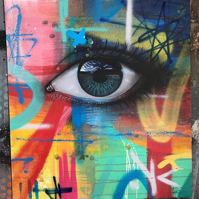 My Dog Sighs (Paul Stone) acrylic and spray paint available at Habatat Galleries