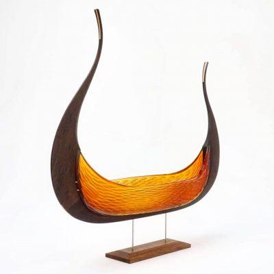 Glass & wood sculpture by Backhaus Brown Egevaerk