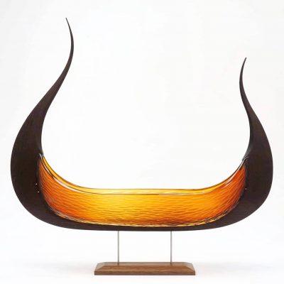 Backhaus Brown Egevaerk glass wood sculpture