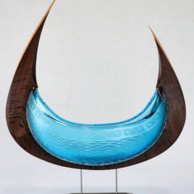 Backhaus Brown Egevaerk glass & wood sculpture
