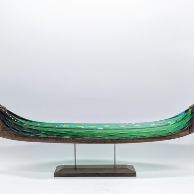 Wood and glass Glasskibe sculpture by Backhaus & Brown and Egevaerk